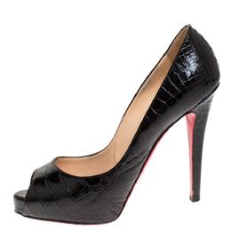 Christian Louboutin Black Croc Embossed Leather Lady Peep Toe Platform Pumps Size 37.5 275878