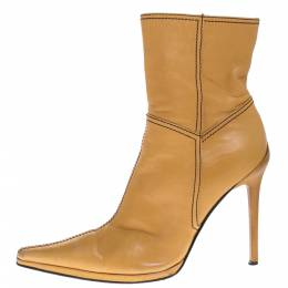 Casadei Tan Leather Pointed Toe Ankle Boots Size 37.5 275634