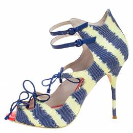 Sophia Webster Multicolor Denim And Leather Finn Tie Up Sandals Size 39