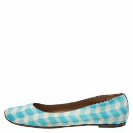 Bottega Veneta Blue/White Printed Leather Ballet Flats Size 41 275548