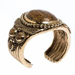 Roberto Cavalli Aged Gold Tone Etched Cabochon Open Cuff Bracelet 275708