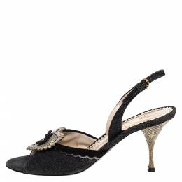 Yves Saint Laurent Blue/Cream Denim And Lizard Leather Heart Slingback Sandals Size 40 275519