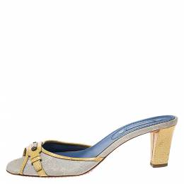 Celine Off-white/Yellow Macadam Canvas And Patent Trim Slide Sandals Size 40 275687