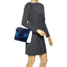 Alexander McQueen Blue Leather Crystal Lucite Heroine Shoulder Bag 275638