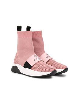 Balmain Kids высокие кроссовки-носки 6M0146MX410