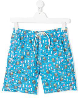 Mc2 Saint Barth Kids плавки-шорты Jean Hawaii с принтом JEANLIGHTING