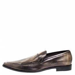 Dolce&Gabbana Metallic Two Tone Leather Slip On Loafers Size 44.5 276472
