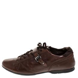 Salvatore Ferragamo Brown Leather Low Top Sneakers Size 45.5 276473