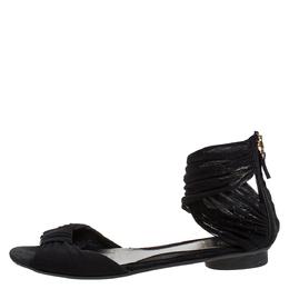 Fendi Black Mesh Fabric Open Toe Flat Sandals Size 36.5 275649