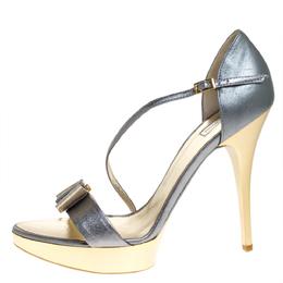Roberto Cavalli Metallic Grey Leather Ankle Strap Platform Sandals Size 40 275642