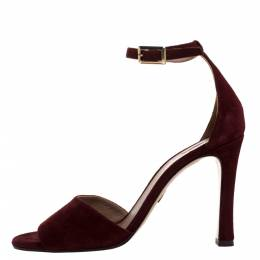 Chloe Burgundy Suede Ankle Strap Sandals Size 39 275884