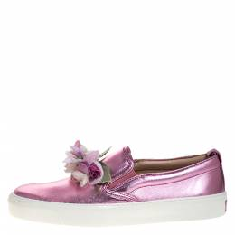 Gucci Metallic Pink Leather Rose Embellished Slip On Sneakers Size 38