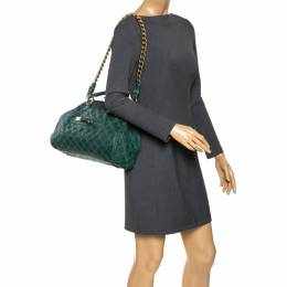 Marc Jacobs Green Quilted Leather Stam Shoulder Bag 275712