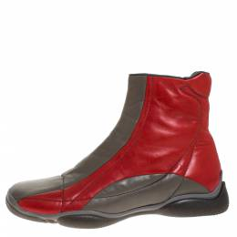 Prada Sport Grey/Red Leather High Top Sneaker Boots Size 39 276585