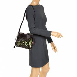 Bally Brown/Green Leather Lazer Cut Drawstring Shoulder Bag 275938