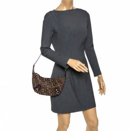 DKNY Brown Signature Canvas and Lizard Embossed Leather Shoulder Bag 275854
