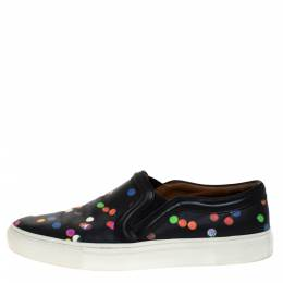 Givenchy Black Leather Confetti Slip On Sneakers Size 37 276574