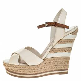Dior Off White Patent Leather Cross Strap Espadrilles Ankle Strap Wedges Size 36 276576