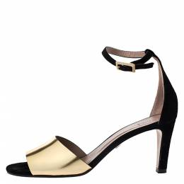 Chloe Metallic Gold Leather and Suede Ankle Strap Sandals Size 39 276452