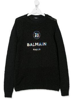 Balmain Kids трикотажный джемпер с логотипом 6M9700MB520