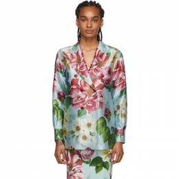 Dolce&Gabbana Blue Floral Blazer F5M10T IS1AS
