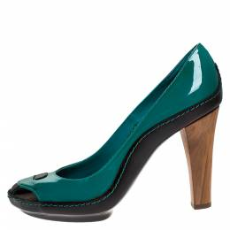 Celine Green/Black Patent And Leather Wooden Heels Pumps Size 38 276673