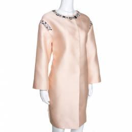 Prada Champagne Satin Embellished Detail Lightweight Coat M 276394