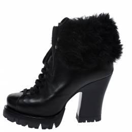 Prada Black Fur Ankle Lace Up Platform Boots Size 37 276803