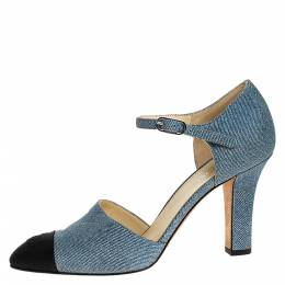 Chanel Blue Denim And Canvas Cap Toe Ankle Strap Pumps Size 38 276652