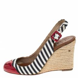 Christian Louboutin Black/White Striped Canvas And Red Patent Leather Chus Espadrille Wedges Slingback Sandals Size 36
