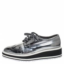 Prada Metallic Silver Brogue Leather Platform Low Top Sneakers Size 38 Celine 276542