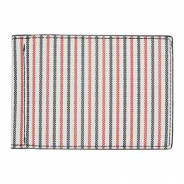 Thom Browne White Double Sided 3-D Seersucker Wallet MAW025A-06191