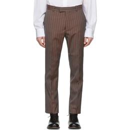 Maison Margiela Orange and Grey Wool Tonic Pinstripe Trousers S30KA0583 S52724