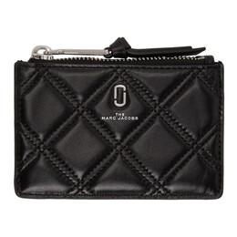 Marc Jacobs Black Quilted Softshot Top Zip Multi Wallet M0015865