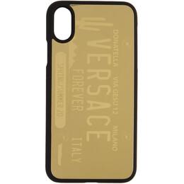 Versace Gold License Plate Logo iPhone X/XS Case DPY8056T DPOTR
