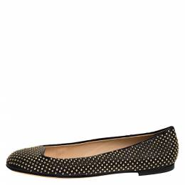 Giuseppe Zanotti Design Black Leather Studded Ballet Flats Size 38 276870