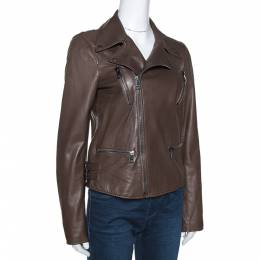 Gucci Brown Leather Monogram Detail Zip Front Jacket M 275743