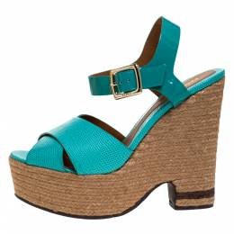 Fendi Green Patent And Lizard Leather Wedge Espadrille Platform Ankle Strap Sandals Size 40 276936