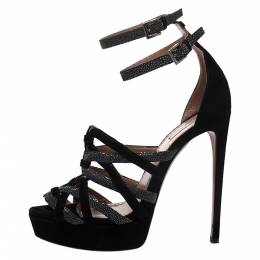Alaia Black/Grey Suede And Stingray Leather Strappy Platform Double Ankle Strap Sandals Size 39 275898