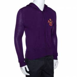Ralph Lauren Purple Merino Wool Hooded & Fitted Sweater L