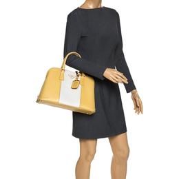Prada Yellow/White Saffiano Lux Leather Medium Promenade Bag 276651