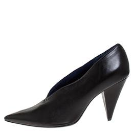 Celine Black Leather V Neck Pointed Toe Pumps Size 39 276832