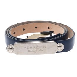 Burberry Blue Leather Reese Slim Belt 90CM 276648