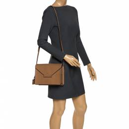 DKNY Brown Leather Flap Crossbody Bag 276647