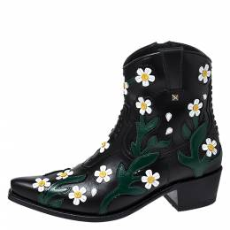 Valentino Black Floral Embroidered Leather Pointed Toe Cowboy Boots Size 39 276583