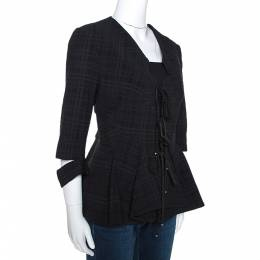 Roland Mouret Black Puckered Check Wool Blend Hanover Jacket L 275622