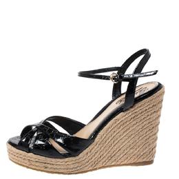 Gucci Black Guccissima Patent Leather Strappy Espadrille Wedge Platform Sandals Size 37