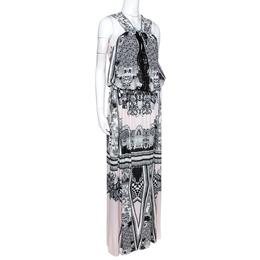 Roberto Cavalli Multicolor Printed Jersey Cutwork Neckline Detail Maxi Dress M 276548