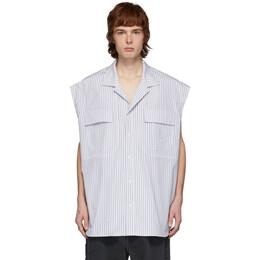 Juun.J White and Navy Striped Sleeveless Shirt JC0465P43R