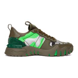 Valentino Green and Silver Valentino Garavani Camo Rockrunner Sneakers TY0S0C88MHB